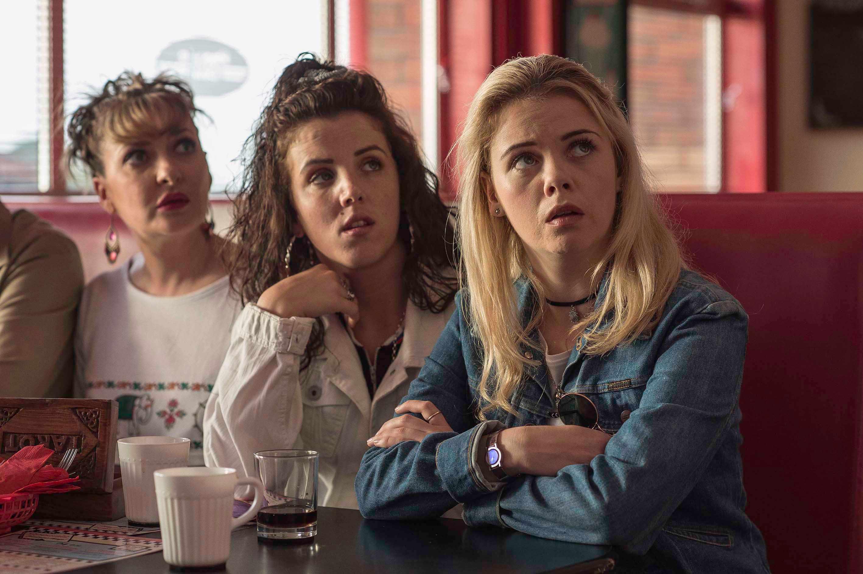 Sarah McCool (Kathy Clarke) Michelle Mallon (Jamie-Lee O'Donnell) and Erin Quinn (Saoirse Jackson) in Derry Girls - (C4, SD)