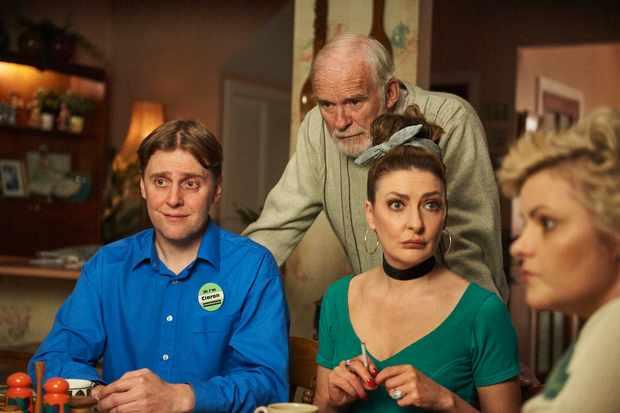 Ciaran (Jamie Beamish),Granda Joe (Ian McElhinney), Sarah McCool (Kathy Clarke) and Mary Quinn (Tara O'Neill) (Channel 4, JG)