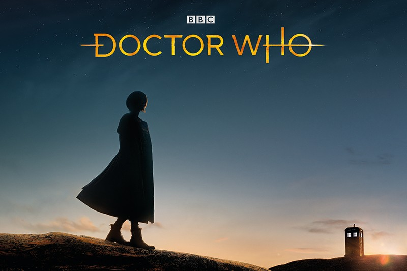 Jodie Whittaker's Doctor and the new Doctor Who logo (BBC, HF)