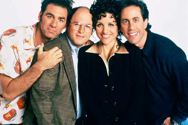 SEINFELD -- Season 9 -- Pictured: (l-r) Michael Richards as Cosmo Kramer, Jason Alexander as George Costanza, Julia Louis-Dreyfus as Elaine Benes, Jerry Seinfeld as Jerry Seinfeld  (Photo by Andrew Eccles/NBC/NBCU Photo Bank via Getty Images) TG