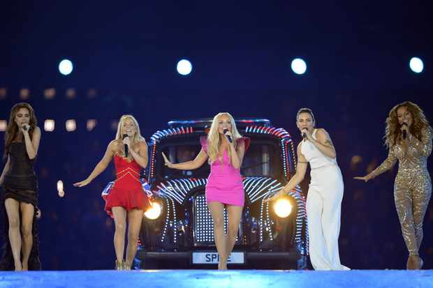 Spice Girls perform during the closing ceremony of the 2012 London Olympic Games at the Olympic stadium in London on August 12, 2012. Rio de Janeiro will host the 2016 Olympic Games. AFP PHOTO/LEON NEAL        (Photo credit should read LEON NEAL/AFP/GettyImages)  Getty, TL