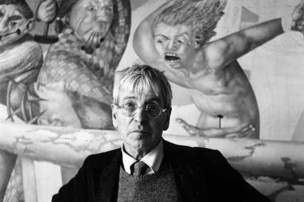 May 1958: English painter Stanley Spencer (1891 - 1959) standing in front of his altarpiece 'The Crucifixion', for Aldenham School Chapel in Cookham. (Photo by John Pratt/Keystone Features/Getty Images) Getty, TL