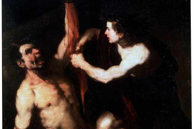 Marsyas and Apollo, a (downright gruesome) painting by Luca Giordano in the early 1650s (Getty, TL)
