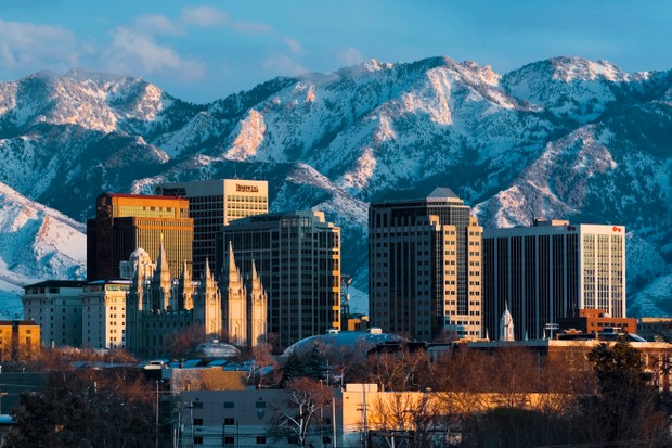 Salt Lake City and the snowcapped Wasatch Mountains