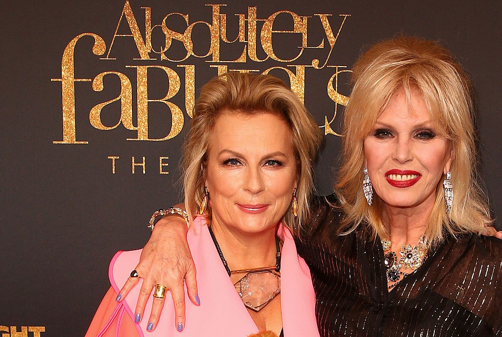 MELBOURNE, AUSTRALIA - AUGUST 02:  Joanna Lumley and Jennifer Saunders arrive ahead of the Absolutely Fabulous: The Movie Melbourne premiere at Village Cinemas Crown on August 2, 2016 in Melbourne, Australia.  (Photo by Scott Barbour/Getty Images)