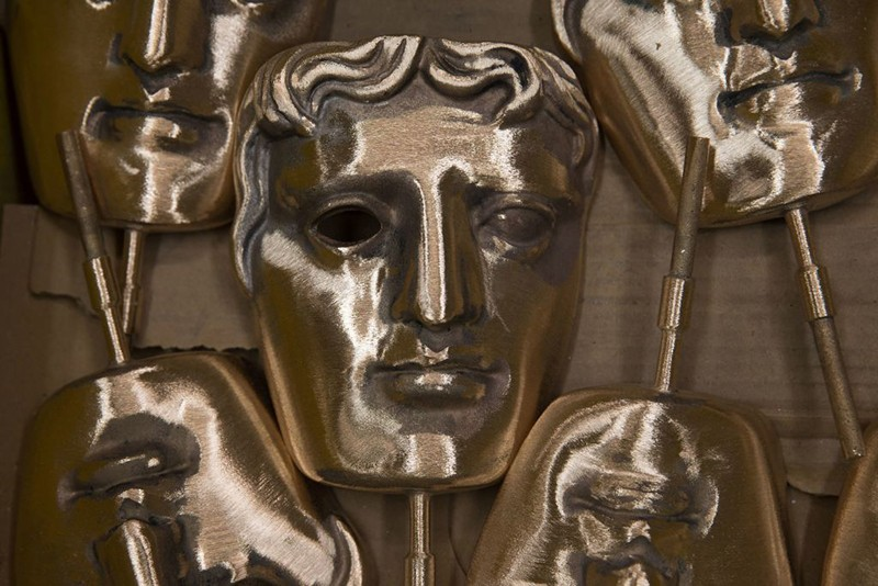 Polished BAFTA (British Academy of Film and Television Arts) masks sit in a box during a photocall at the New Pro Foundries, west of London on January 31, 2017.  (Getty, HF)