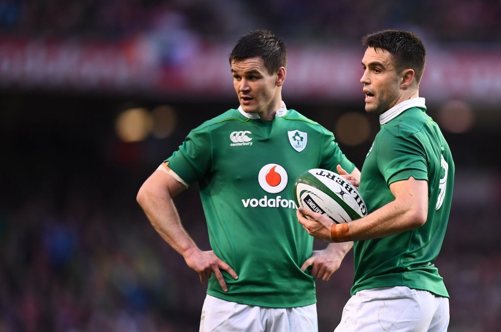 Dublin , Ireland - 25 February 2017; Conor Murray, right, and Jonathan Sexton of Ireland during the RBS Six Nations Rugby Championship game between Ireland and France at the Aviva Stadium in Lansdowne Road, Dublin. (Photo By Stephen McCarthy/Sportsfile via Getty Images)