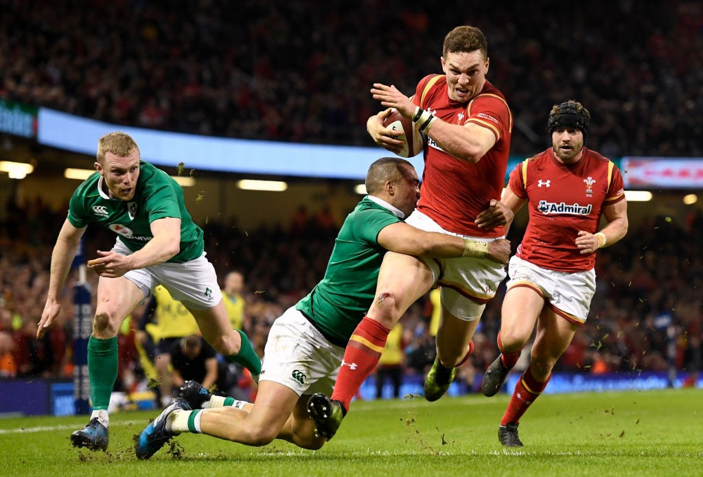 CARDIFF, WALES - MARCH 10:  George North of Wales scores the first try during the Six Nations match between Wales and Ireland at the Principality Stadium on March 10, 2017 in Cardiff, Wales.  (Photo by Stu Forster/Getty Images)