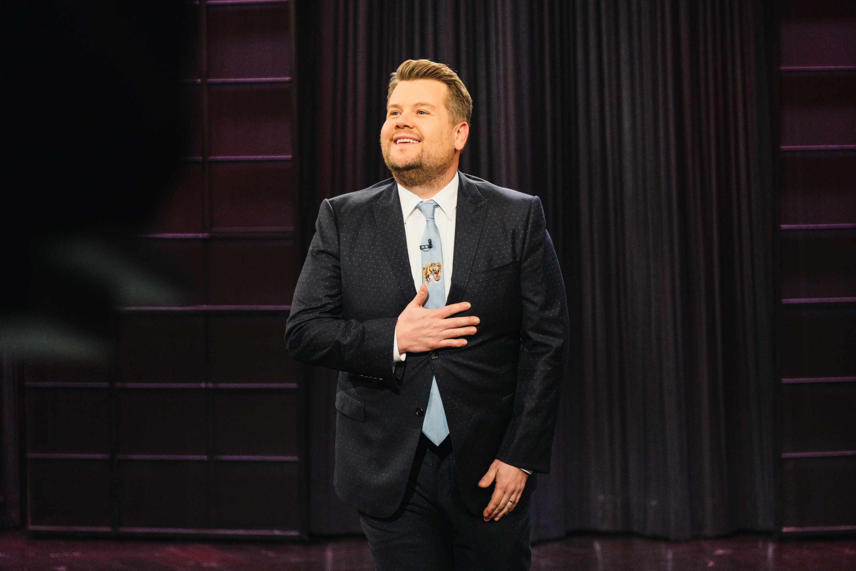 "LOS ANGELES - NOVEMBER 21: James Corden performs the monologue during ""The Late Late Show with James Corden,"" Tuesday, November 21, 2017 (12:35 PM-1:37 AM ET/PT) On The CBS Television Network.  (Photo by Terence Patrick/CBS via Getty Images)  Getty, TL"