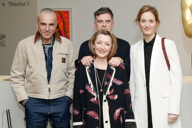 Phantom Thread's Daniel Day-Lewis, writer, Paul Thomas Anderson, Lesley Manville and Vicky Krieps (Getty, EH)