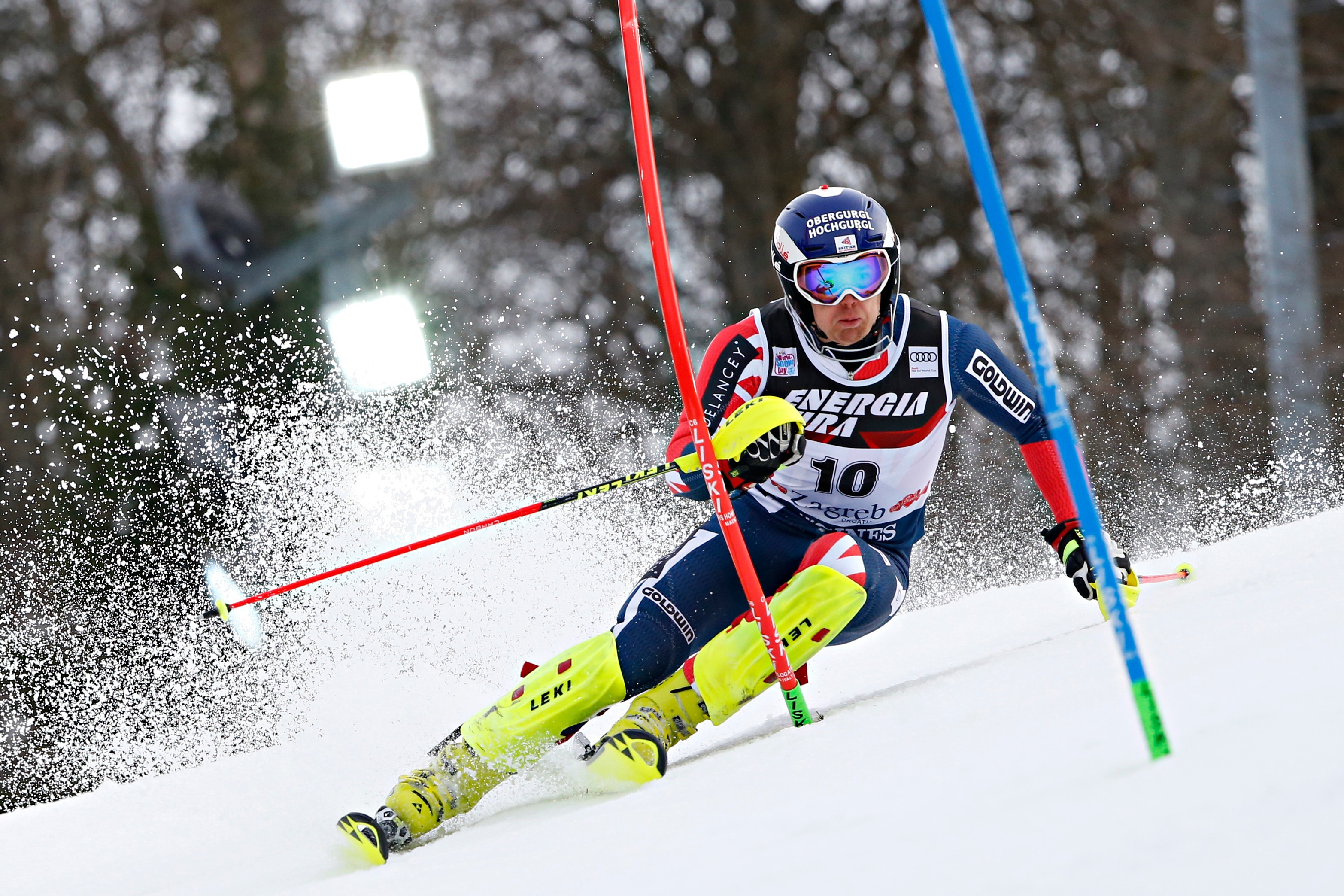 ZAGREB, CROATIA - JANUARY 04: Dave Ryding of Great Britain competes during the Audi FIS Alpine Ski World Cup Men's Slalom on January 4, 2018 in Zagreb, Croatia. (Photo by Christophe Pallot/Agence Zoom/Getty Images)  Getty, TL
