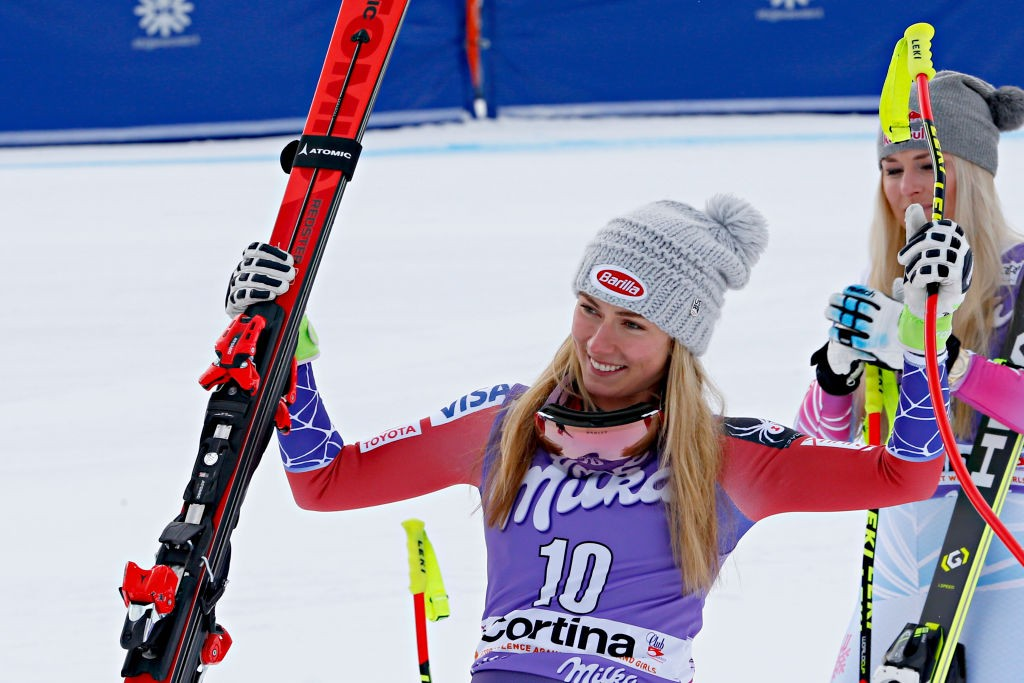 CORTINA D'AMPEZZO, ITALY - JANUARY 19: Mikaela Shiffrin of USA takes 3rd place during the Audi FIS Alpine Ski World Cup Women's Downhill on January 19, 2018 in Cortina d'Ampezzo, Italy. (Photo by Christophe Pallot/Agence Zoom/Getty Images)