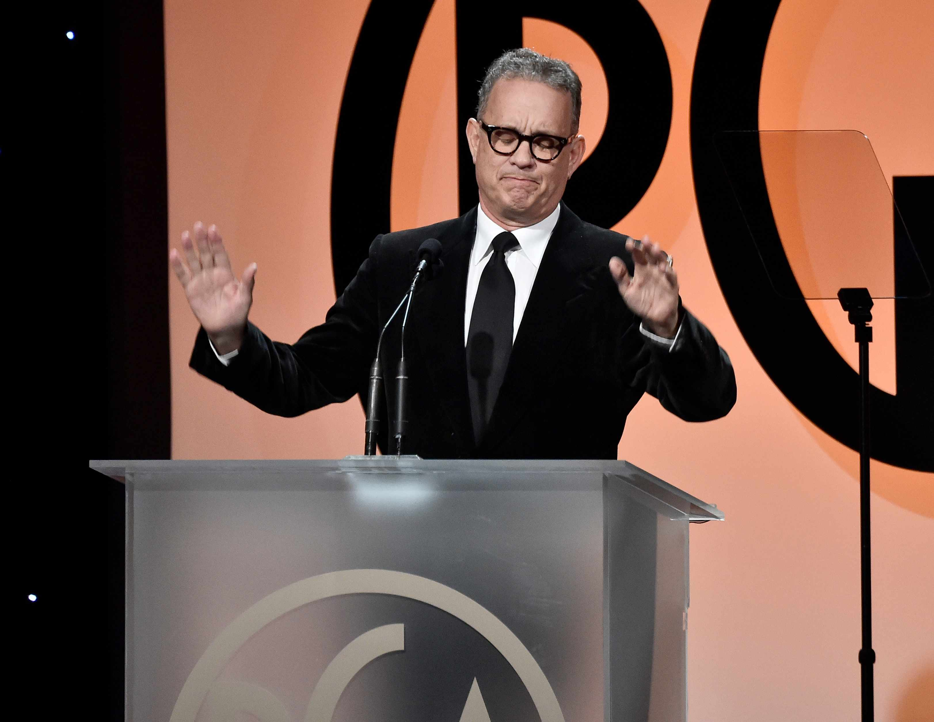 BEVERLY HILLS, CA - JANUARY 20:  Tom Hanks on stage at the 29th Annual Producers Guild Awards  at The Beverly Hilton Hotel on January 20, 2018 in Beverly Hills, California.  (Photo by Frazer Harrison/Getty Images, TG)