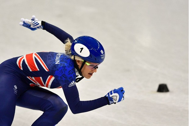 Britain's Elise Christie takes part in the women's 500m short track speed skating heat event during the Pyeongchang 2018 Winter Olympic Games, at the Gangneung Ice Arena in Gangneung on February 10, 2018. / AFP PHOTO / Mladen ANTONOV (Photo credit should read MLADEN ANTONOV/AFP/Getty Images)