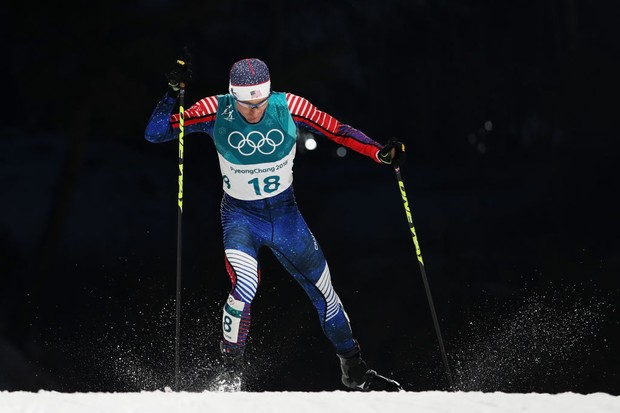 PYEONGCHANG-GUN, SOUTH KOREA - FEBRUARY 14:  Bryan Fletcher of the United States competes during the Nordic Combined Individual Gundersen Normal Hill and 10km Cross Country on day five of the PyeongChang 2018 Winter Olympics at Alpensia Cross-Country Centre on February 14, 2018 in Pyeongchang-gun, South Korea.  (Photo by Al Bello/Getty Images)