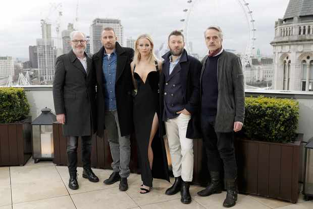 Francis Lawrence, Matthias Schoenaerts, Jennifer Lawrence, Joel Edgerton and Jeremy Irons, Red Sparrow (Getty, EH)
