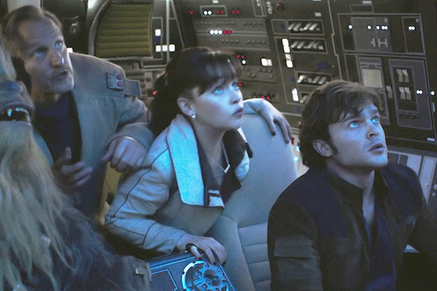 Joonas Suotamo is Chewbacca, Woody Harrelson is Beckett, Emilia Clarke is Qi'ra and Alden Ehrenreich is Han Solo in SOLO: A STAR WARS STORY (LucasFilm, HF)