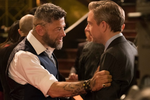 Ulysses Klaue (Andy Serkis) and Everett K. Ross (Martin Freeman) in Marvel's Black Panther (Marvel Studios, JG)