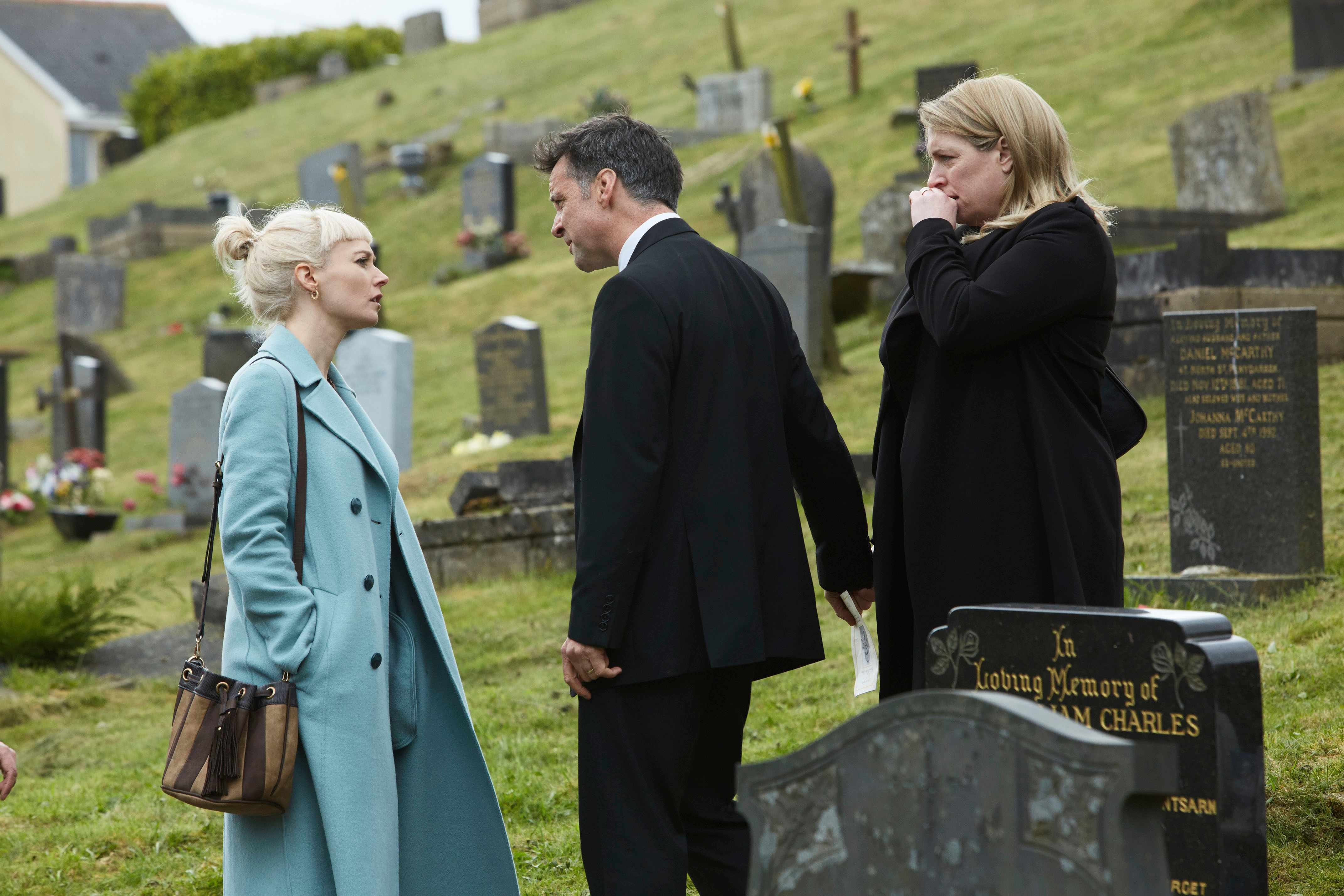 WARNING: Embargoed for publication until 00:00:01 on 22/01/2018 - Programme Name: Requiem - TX: n/a - Episode: Requiem - Ep1 (No. 1) - Picture Shows: +++Embargoed until Monday January 22nd, 2018+++ Matilda (LYDIA WILSON), Aron (RICHARD HARRINGTON), Rose (CLAIRE RUSHBROOK) - (C) New Pictures - Photographer: Simon Ridgway