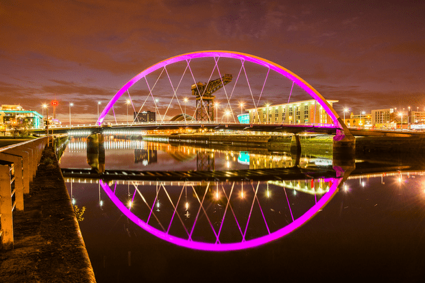 Glasgow's Clyde Arc bridge (also known as Finnieston and Squinty Bridge)