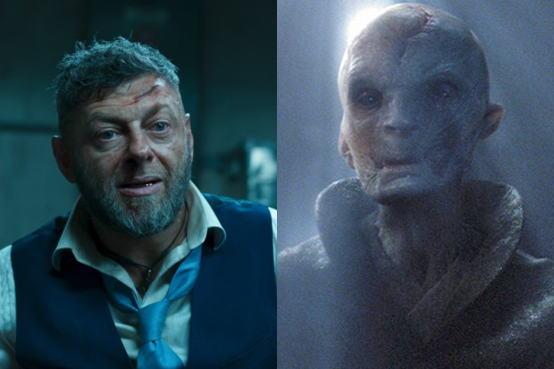 Andy Serkis as Ulysses Klaue in Black Panther and as Supreme Leader Snoke in Star Wars: The Force Awakens (Disney, HF)