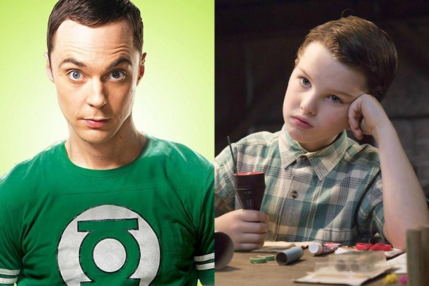 Jim Parsons and Iain Armitage as Sheldon Cooper through the ages (E4, HF)