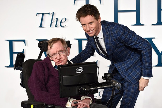 Stephen Hawking with Eddie Redmayne, who played him in The Theory of Everything