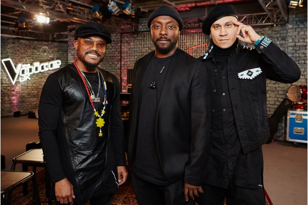 will.i.am and fellow members of The Black Eyed Peas apl.de.ap and Taboo on The Voice UK