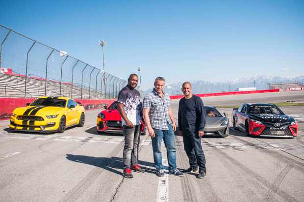 WARNING: Embargoed for publication until 00:00:01 on 20/02/2018 - Programme Name: Top Gear - TX: 25/02/2018 - Episode: n/a (No. n/a) - Picture Shows: Rory Reid, Matt LeBlanc and Chris Harris with a Hennessey Mustang 350 GTR, Jaguar F-Type SVR and McLaren 570 GT in Utah.  - (C) BBC - Photographer: Lee Brimble
