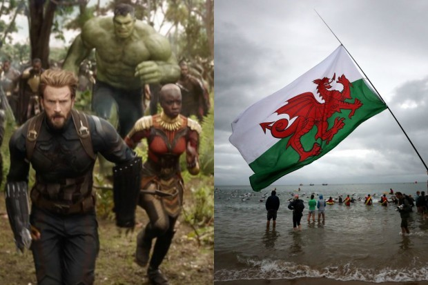 The cast of Avengers: Infinity War and the Welsh Flag (Disney, Getty, HF)