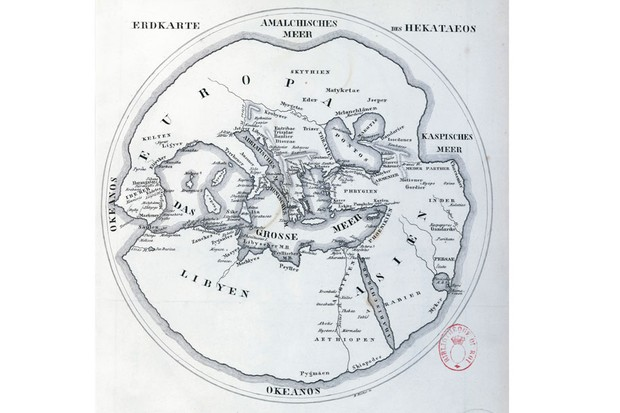 A 1900 reconstruction of the world map by Hecataeus of Miletus (550–475 BC), Getty