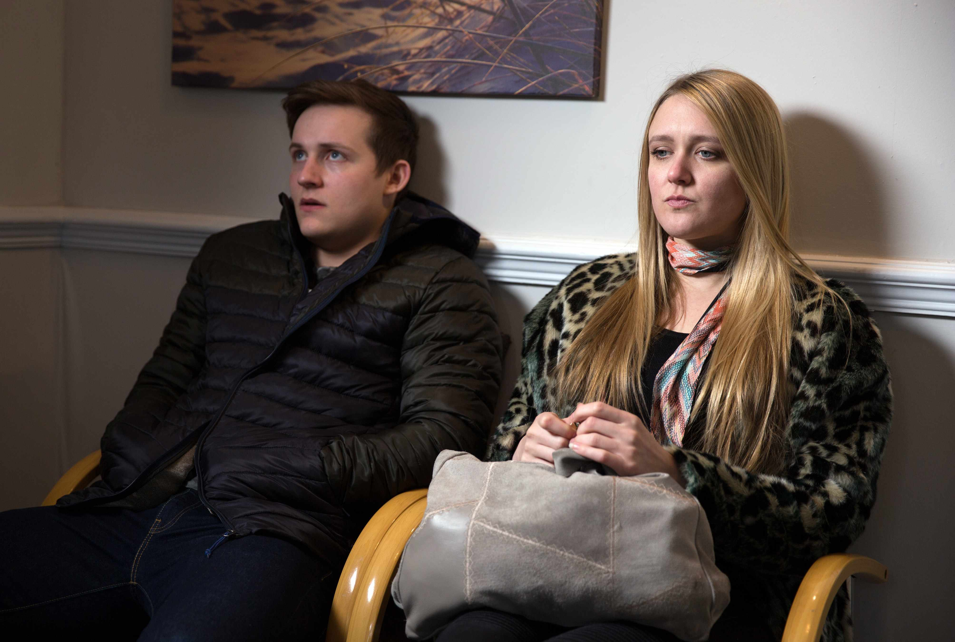 FROM ITV   STRICT EMBARGO  Print media - No Use Before Tuesday 27 March  2018 Online Media -  No Use Before 0700hrs Tuesday 27 March 2018  Emmerdale - Ep 8114  Thursday 5th April 2018 - 1st Ep  Lachlan White [THOMAS ATKINSON] is thrown to hear Rebecca White [EMILY HEAD] is going to see a hypnotherapist and he insists on accompanying her. He's privately edgy to learn it could unlock incriminating thoughts. The next day, Lachlan waits outside the Hypnotherapist Office panicked over what on earth she is remembering.   Picture contact - david.crook@itv.com  Photographer - Amy Brammall  This photograph is (C) ITV Plc and can only be reproduced for editorial purposes directly in connection with the programme or event mentioned above, or ITV plc. Once made available by ITV plc Picture Desk, this photograph can be reproduced once only up until the transmission [TX] date and no reproduction fee will be charged. Any subsequent usage may incur a fee. This photograph must not be manipulated [excluding basic cropping] in a manner which alters the visual appearance of the person photographed deemed detrimental or inappropriate by ITV plc Picture Desk. This photograph must not be syndicated to any other company, publication or website, or permanently archived, without the express written permission of ITV Plc Picture Desk. Full Terms and conditions are available on the website www.itvpictures.com