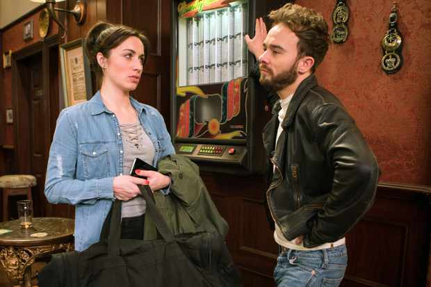 FROM ITV   STRICT EMBARGO - No Use Tuesday 27 March 2018  Coronation Street - Ep 9423  Friday 6th April 2018 - 1st Ep  Shona Ramsey [JULIE GOULDING] is pleased when David Platt [JACK P SHEPHERD] asks to meet her in the Rovers and confides in Josh that he might have come to his senses. She's gutted when David arrives in the pub with the rest of her stuff in bags.  Picture contact - david.crook@itv.com  Photographer - Andrew Boyce  This photograph is (C) ITV Plc and can only be reproduced for editorial purposes directly in connection with the programme or event mentioned above, or ITV plc. Once made available by ITV plc Picture Desk, this photograph can be reproduced once only up until the transmission [TX] date and no reproduction fee will be charged. Any subsequent usage may incur a fee. This photograph must not be manipulated [excluding basic cropping] in a manner which alters the visual appearance of the person photographed deemed detrimental or inappropriate by ITV plc Picture Desk. This photograph must not be syndicated to any other company, publication or website, or permanently archived, without the express written permission of ITV Plc Picture Desk. Full Terms and conditions are available on the website www.itvpictures.com