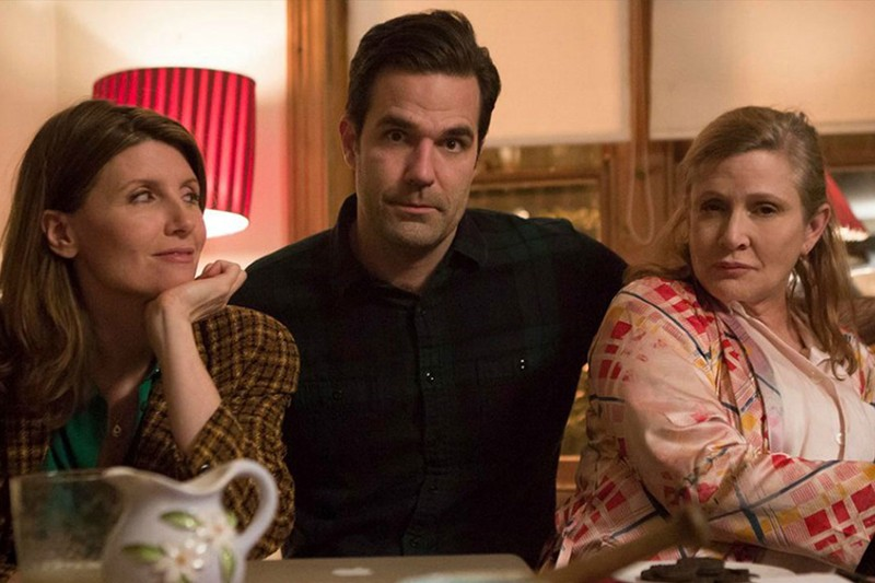 Sharon Horgan, Rob Delaney and Carrie Fisher in Catastrophe (Channel 4, HF)