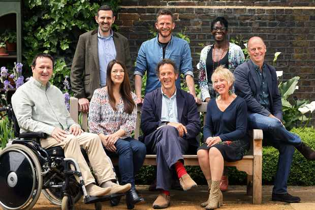 Programme Name: Gardeners' World - TX: n/a - Episode: Gardeners' World 50th Anniversary (No. n/a) - Picture Shows: Gardeners' World Team at the Geffrye Muesum  Mark Lane, Rachel De Thame, Monty Don, Carol Klein, Flo Headlam, Joe Swift, Nick Bailey, Adam Frost - (C) BBC - Photographer: Glenn Dearing