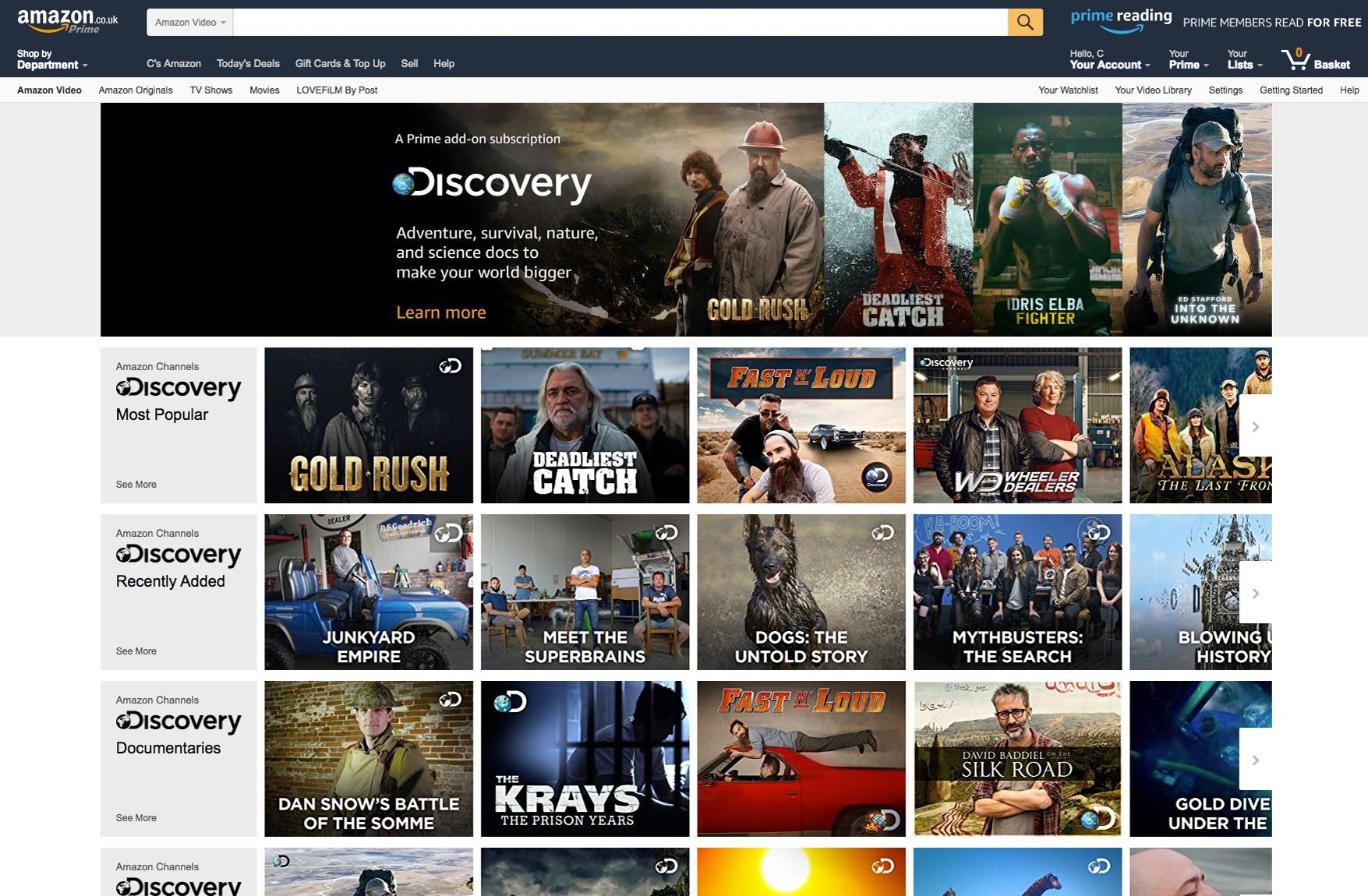 Amazon Channels screenshot