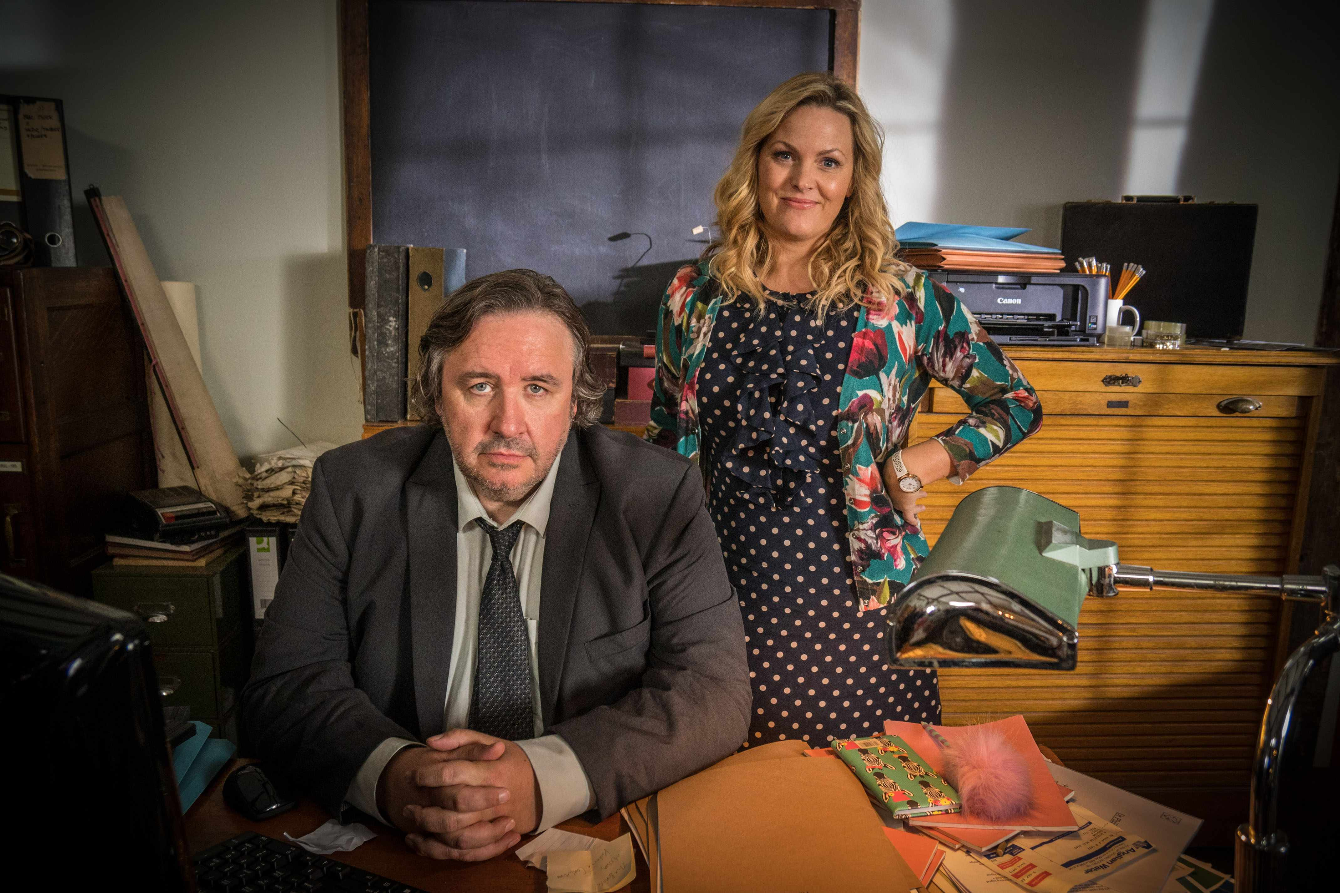 Mark Benton and Jo Joyner in Shakespeare & Hathaway (BBC, EH)