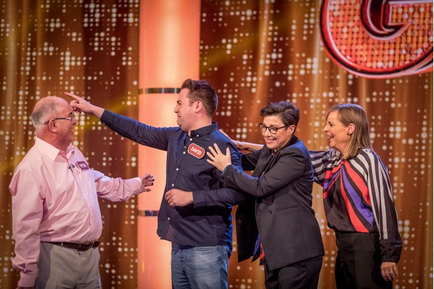 WARNING: Embargoed for publication until 00:00:01 on 27/03/2018 - Programme Name: The Generation Game 2018 - TX: n/a - Episode: n/a (No. 1) - Picture Shows: Peter, David, Sue Perkins, Mel Giedroyc - (C) BBC - Photographer: Guy Levy