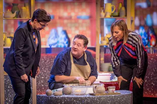 WARNING: Embargoed for publication until 00:00:01 on 27/03/2018 - Programme Name: The Generation Game 2018 - TX: n/a - Episode: n/a (No. 1) - Picture Shows:  Sue Perkins, Johnny Vegas, Mel Giedroyc - (C) BBC - Photographer: Guy Levy