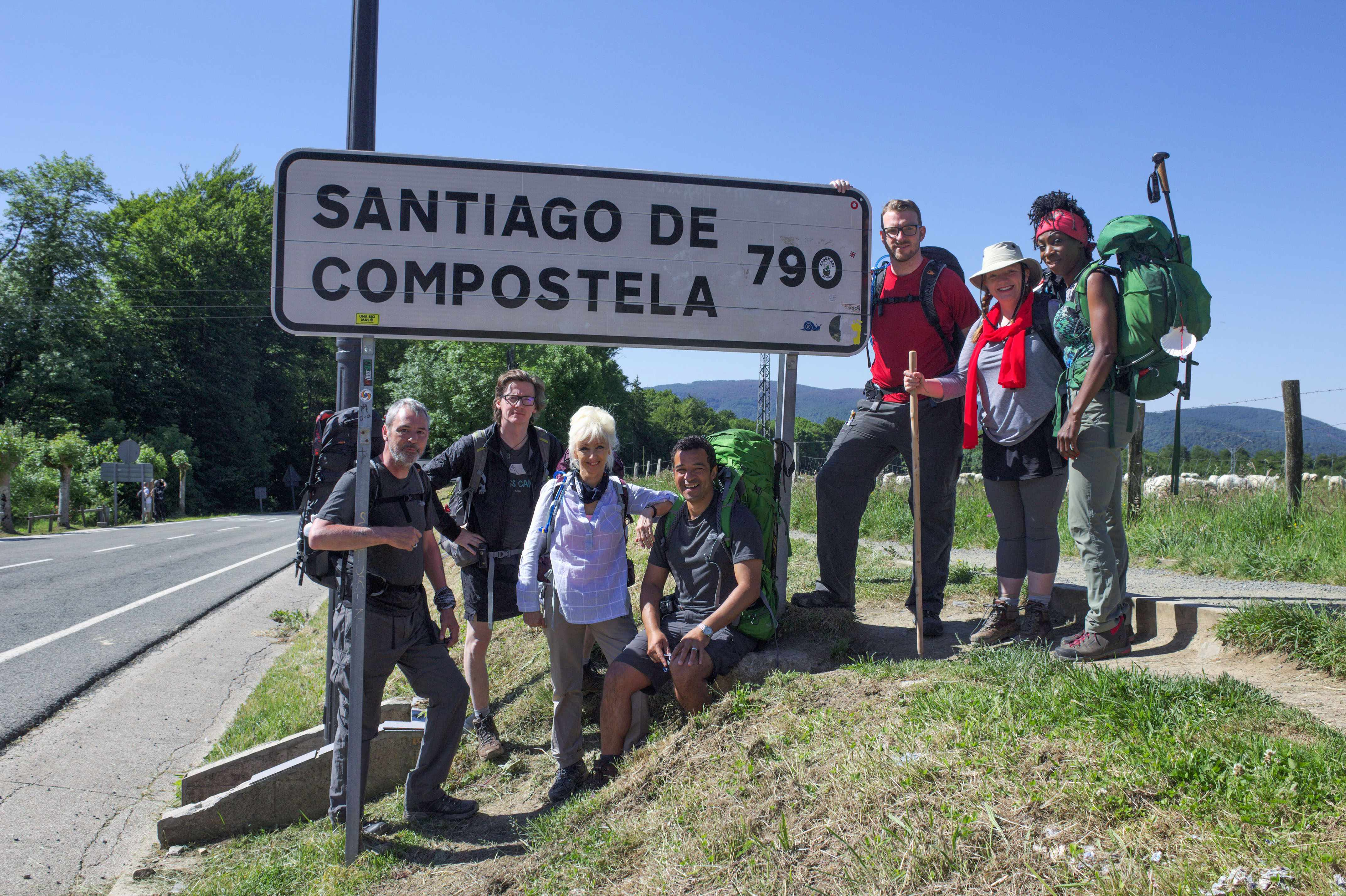Programme Name: Pilgrimage: The Road to Santiago - TX: n/a - Episode: n/a (No. 1) - Picture Shows: at the start of their journey. Neil Morrissey, Ed Byrne, Debbie McGee, Raphael Rowe, JJ Chalmers, Rev. Kate Bottley, Heather Small - (C) CTVC - Photographer: Brigid McFall