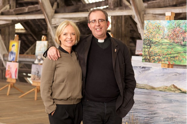 Programme Name: The Big Painting Challenge S3 - TX: n/a - Episode: The Big Painting Challenge S3 - Generics (No. n/a) - Picture Shows: Mariella & Richard (presenters) - (C) BBC - Photographer: Alan Peebles