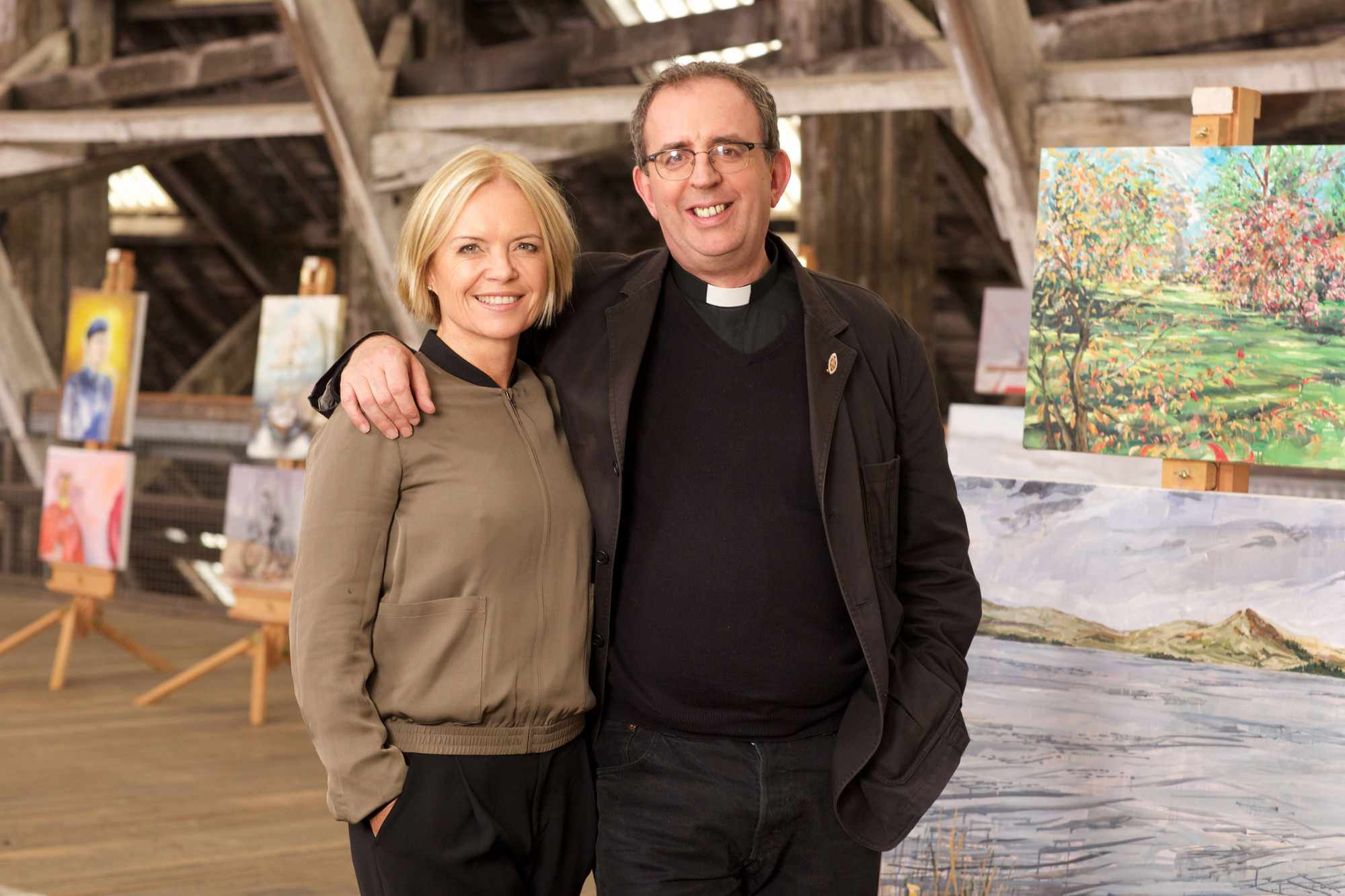 Programme Name: The Big Painting Challenge S3 - TX: n/a - Episode: The Big Painting Challenge S3 - Generics (No. n/a) - Picture Shows: Mariella & Richard (presenters)   - (C) BBC - Photographer: Alan Peebles  BBC, TL