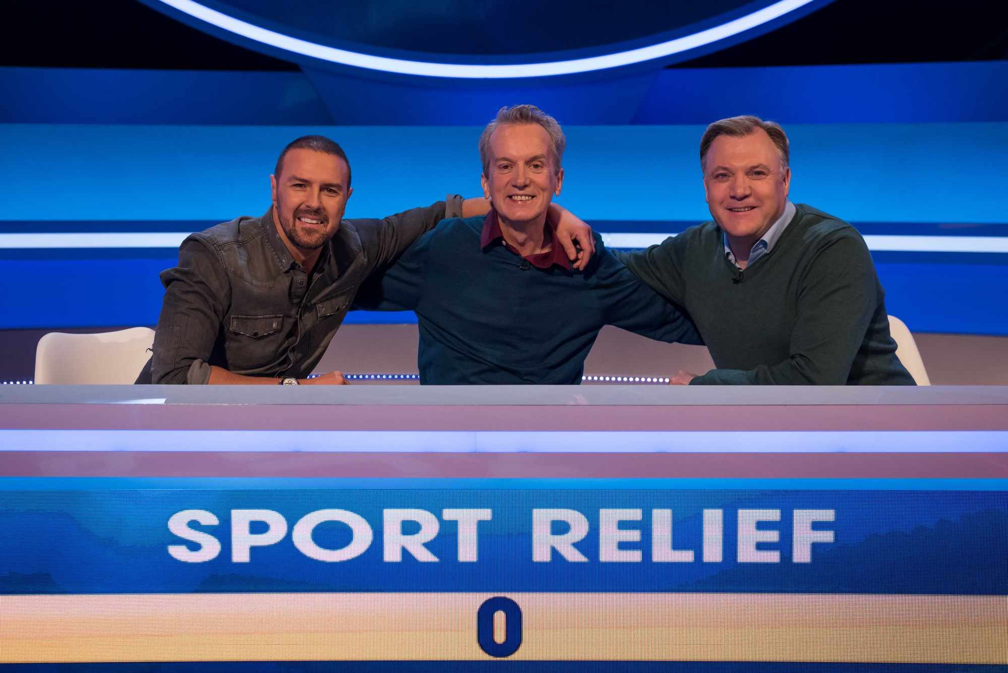 WARNING: Embargoed for publication until 00:00:01 on 13/03/2018 - Programme Name: Sport Relief 2018 - TX: 23/03/2018 - Episode: n/a (No. n/a) - Picture Shows: **Strictly Embargoed until 13/03/2018 00:00:01** Paddy McGuinness, Frank Skinner, Ed Balls - (C) BBC  - Photographer: James Stack