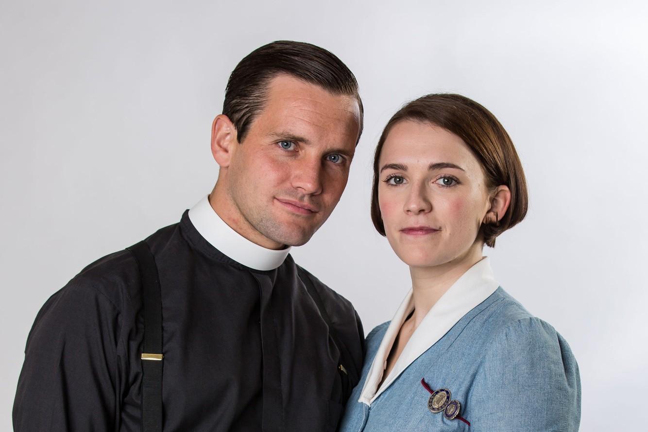 Tom Hereward (Jack Ashton) and Nurse Barbara Hereward (Charlotte Ritchie) in Call the Midwife series 7 (BBC, JG)