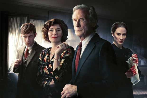 Luke Treadaway, Anna Chancellor, Bill Nighy and Morven Christie in Ordeal by Innocence (BBC)