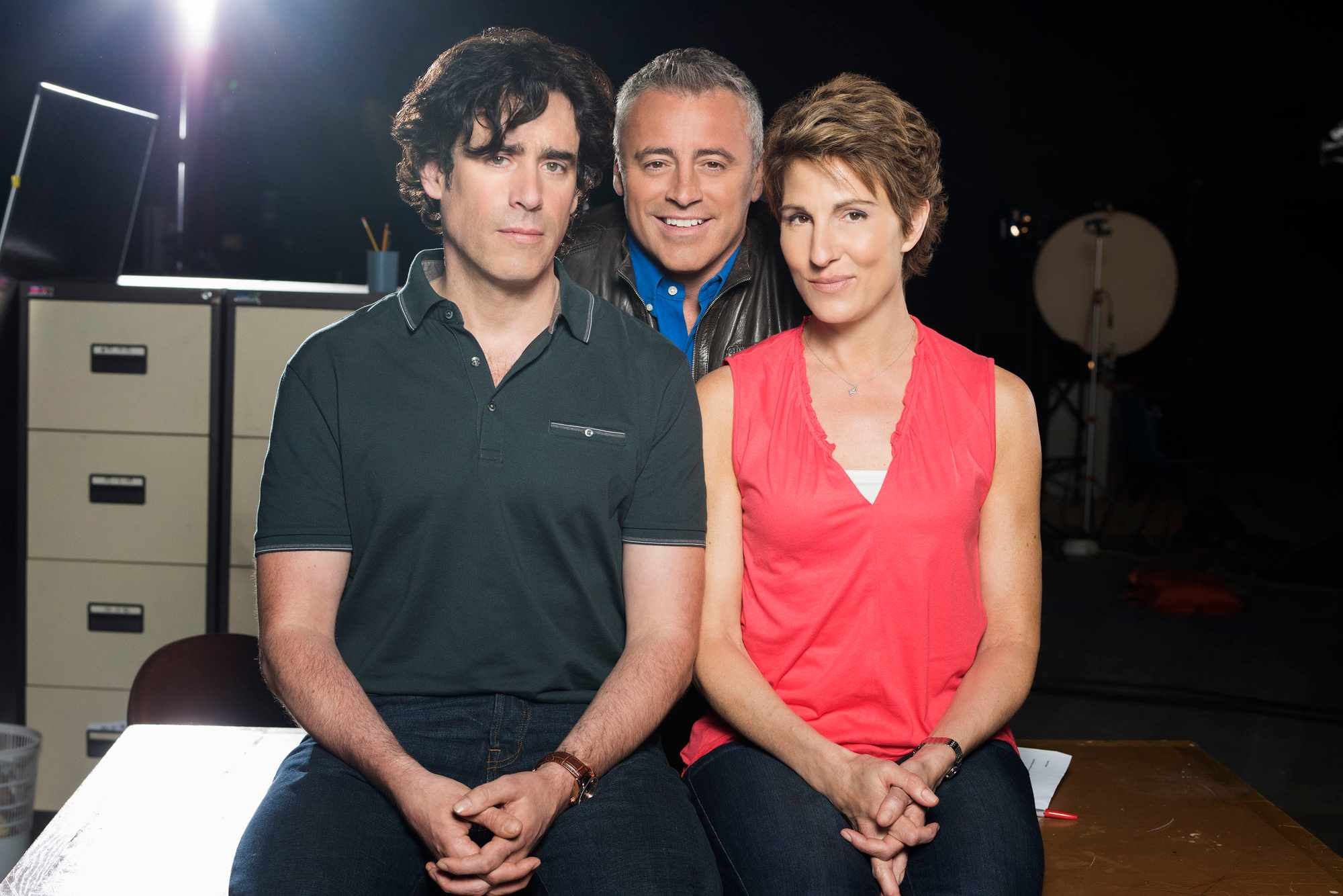 Matt LeBlanc, Stephen Mangan, and Tamsin Greig in Episodes