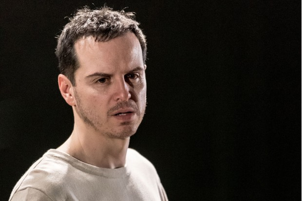 Andrew Scott as Hamlet, in the Almeida Theatre production directed by Robert Icke (Almeida Theatre / Manuel Harlan, JG)