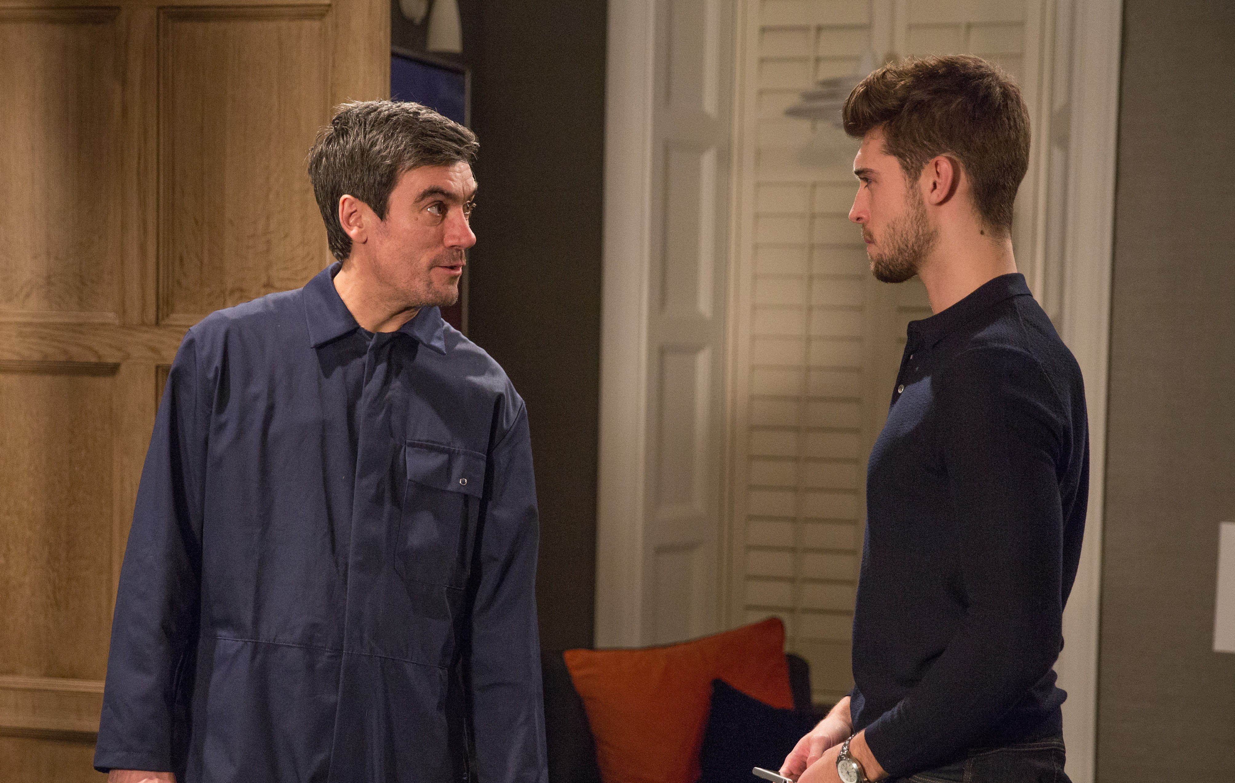 FROM ITV STRICT EMBARGO Print media - No Use Before Tuesday 13 March  2018Online Media -  No Use Before 0700hrs Tuesday 13 March 2018Emmerdale - Ep 8103Thursday 22 March 2018 - 2nd EpWhat does Cain Dingle [JEFF HORDLEY] have planned for Joe Tate [NED PORTEOUS]? Picture contact - david.crook@itv.comPhotographer - Amy BrammallThis photograph is (C) ITV Plc and can only be reproduced for editorial purposes directly in connection with the programme or event mentioned above, or ITV plc. Once made available by ITV plc Picture Desk, this photograph can be reproduced once only up until the transmission [TX] date and no reproduction fee will be charged. Any subsequent usage may incur a fee. This photograph must not be manipulated [excluding basic cropping] in a manner which alters the visual appearance of the person photographed deemed detrimental or inappropriate by ITV plc Picture Desk. This photograph must not be syndicated to any other company, publication or website, or permanently archived, without the express written permission of ITV Plc Picture Desk. Full Terms and conditions are available on the website www.itvpictures.com