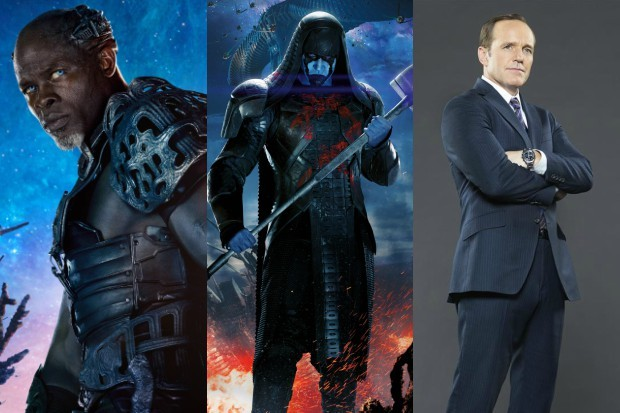 Djimon Hounsou, Lee Pace and Clark Gregg as Korath the Pursuer, Ronan the Accuser and Agent Coulson (Marvel, HF)