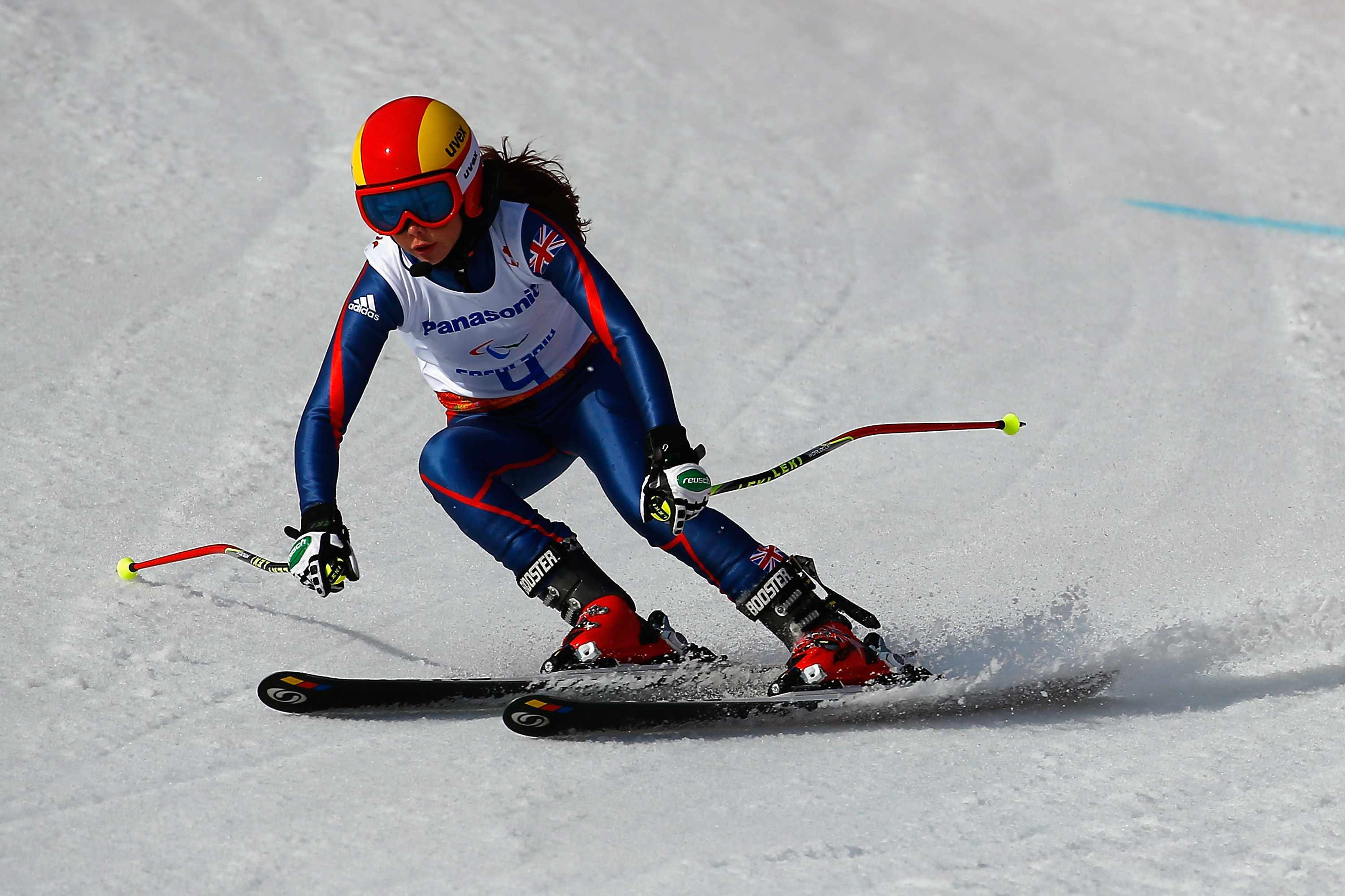 SOCHI, RUSSIA - MARCH 08:  Jade Etherington of Great Britain competes in the Women's Downhill - Visually Impaired during day one of Sochi 2014 Paralympic Winter Games at Rosa Khutor Alpine Center on March 8, 2014 in Sochi, Russia.  (Photo by Tom Pennington/Getty Images)  Getty, TL